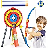 KEJIH GOLCUU Sport Series Archery Shooting Set Kids Archery Bow and12PCS Arrow Toy Set with Bullseye Target Stand Quiver Suction Cup Arrows for Indoor Outdoor Fun Superior Kids Age 4+