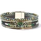 FANCY SHINY Leather Wrap Bracelets Crystal Beads Bracelet Boho Cuff Stone Charm Bracelets with Magnetic Clasp Costume Jewelry for Women(Dark Green)