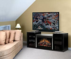 Dimplex Marana TV Stand with Electric Fireplace in Black - Logs