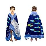 Strandtücher für Kinder, Kleinkinder, Jungen, Mädchen, 100 % weiche Plüsch-Badetuch mit Kapuze für Kinder, Bad, Pool, Strand, Schwimmen, Vertuschung, Bademantel, Rakete