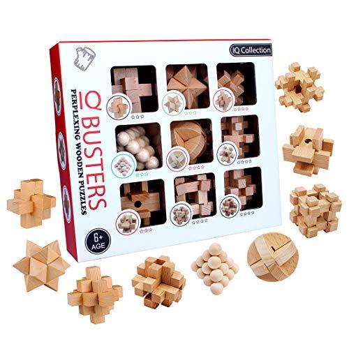 AMITAS 9 Stück Knobelspiele Set Knobelspiele Holz 3D Puzzle Geduldsspiel Knobel Set Lehrreiches Spielzeug als Adventskalender Geburtstag Weihnachten für Erwachsene Kinder