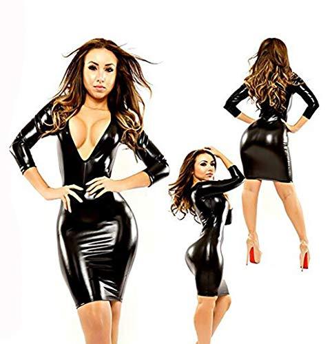 SHANGLY Mujer Látex Vestido Wetlook Catwoman Ropa Ajustada Negro V Neck Discotecas Sexy Vestido Corto,XL