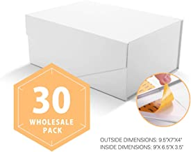 PACKHOME Wholesale Gift Boxes Rectangular 9.5x7x4 Inches, Groomsmen Boxes Rectangle Collapsible Boxes with Magnetic Lid for Gifts Packaging (Matte White with Embossing, 30 Boxes)
