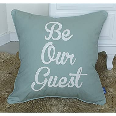 DecorHouzz Be Our Guest Appliqued Pillowcases Embroidered Pillow Cover CushionThrow Pillow Decorative Pillow Wedding Birthday Anniversary Gift 18 X18  (Sea Blue)