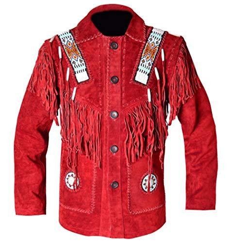 REDWOLF Western Cowboy Style - Chaqueta de Piel con Flecos y Hueso para Hombre D9 XXS-5XL Rojo Rosso XXXXX-Large