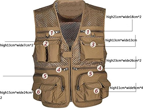 Zhusheng Men's Mesh 16 Pockets Photography Fishing Travel Outdoor Quick Dry Vest Breathable Waistcoat Jackets