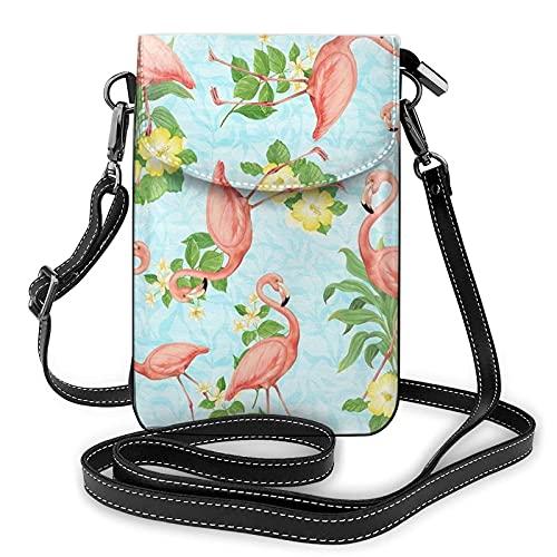 Bandolera para mujer - Flamingo Pequeño monedero para teléfono celular con ranuras para tarjetas de crédito