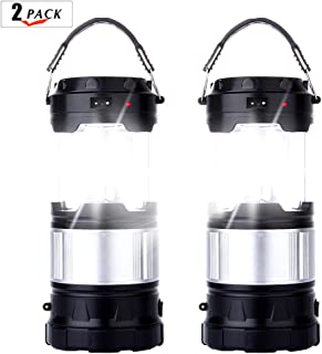 2 Pack Outdoor Camping Lamp, Portable Outdoor Rechargeable Solar LED Camping Light Lantern Handheld Flashlights with USB Charger, Perfect Hiking Fishing Emergency Lights - (2 Pack-Black)