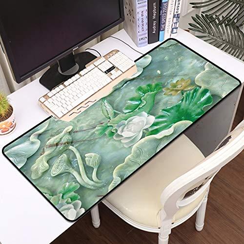 Luoquan Alfombrilla Raton Grande Gaming Mouse Pad,Planta Loto Verde En Relieve Decorativo Fondo Verde Esmeralda,Impermeable Alfombrilla Gruesa de Goma Antideslizante para ratón