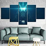 VLONESUN Modern Set Hot Movie Godzilla King of Monsters Hall enmarcada Stampa su Tela mmagini Quadro Moderno-(8x14 8x18 8x22inch)-5 Piezas Enmarcado de Madera