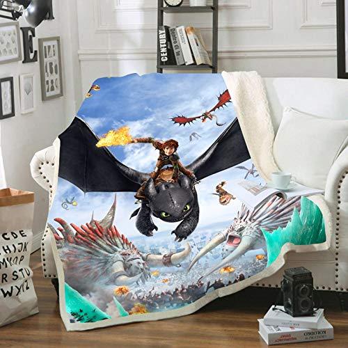 FRTDNE How to Train Your Dragon Kinderdecke,Mikrofaser,bequem und warm, Klimaanlage Decke,Nap Decke,Flanell,Geschenk,für Erwachsene & Kinder (D,100X140CM)