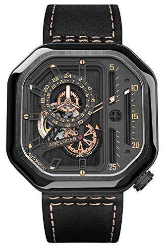 Agelocer Reloj de lujo analógico luminoso de la marca superior de los hombres de moda mecánica Punk Square, Nk_5803j3,