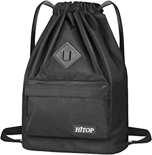 Drawstring Backpack, Waterproof Snow Resistant Lightweight Sport Gym Bag For Men and Women (Black)
