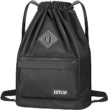 HITOP Drawstring Backpack, Waterproof Snow Resistant Lightweight Sport Gym Bag For Men and Women (Black)