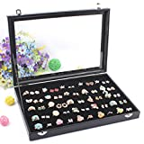 Wuligirl Velvet Clear Lid 100 Slot Ring Organizer Storage Box Display Case Holder Tray for Jewelry Showcase(100 Slot Ring)