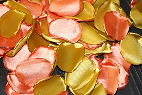 Autumn Wedding, Gold Rose Petals, Orange Rose Petal, Set of 100, Flower Girl Petals, Gold Bridal Shower, Garden Wedding, Halloween Decoration, Pumpkin Orange