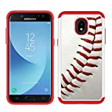 Galaxy J3 V 3rd/Express Prime 3/Achieve/J3 Star/Amp Prime 3 - Baseball Sports Pattern Shockproof Hard PC and Inner Silicone Hybrid Dual Layer Armor Defender Case for Samsung Galaxy J3 2018