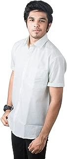 JPF Smart Mens Regular Fit Semi Formal Half Sleeve White & Navy Color Shirt