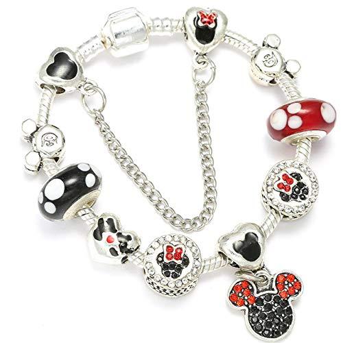 MZFRXZ Damesarmband, bedelarmband voor kinderen, vrouwen, met parels, zilver, slangenketting, fijne armbanden, armbanden cartoon sieraden