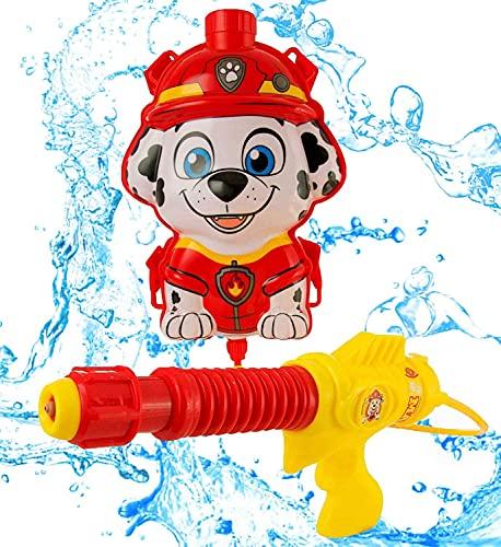 PAW PATROL Rucksack Marshall Wasser Pistole | Tragbar Mit Verstellbaren Trägern Lustiges Spielzeug Für Kinder Im Freien Ab 3 Jahren