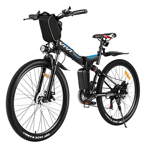 Vivi 26'' Electric Bike Folding Electric Mountain Bike Adults E-Bike 350W Motor with Removable36V 8Ah Lithium-Ion Battery and Professional 21 Speed Gears (Black Blue)