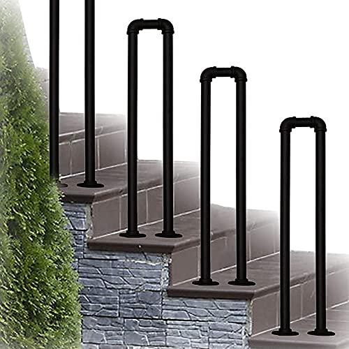 LYP Pasamanos de Escalera, pasamanos de Seguridad en Forma de U Antideslizantes de Hierro Forjado galvanizado, con Kit de instalación pasamanos para escalones al Aire Libre, 35-100 cm, Negro M