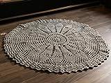 Maison Zoe Pesada Alfombra en Crochet Redonda Gris ø110cm - 100% Hecho a Mano - diseño monocromático - alfombras