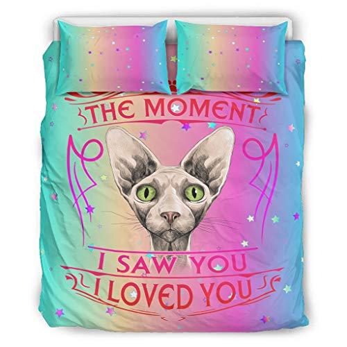 chvcodd Bedding The Moment I Saw You I Love You Cat - Juego de almohadas decorativas para cama (228,6 x 228,6 cm), diseño de gato