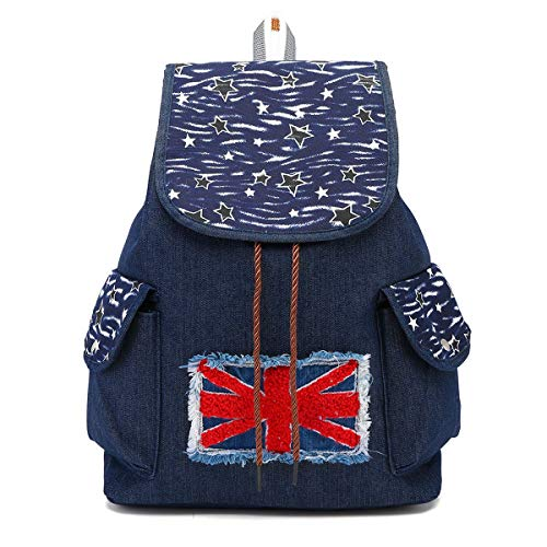 CCCLLL Children's Backpack, 15 Inches Retro Folk-custom Embroidered Neutral Drawstring School Bag Denim Material Breathable Wear Resistant High Capacity Leisure Travel Rucksack,D