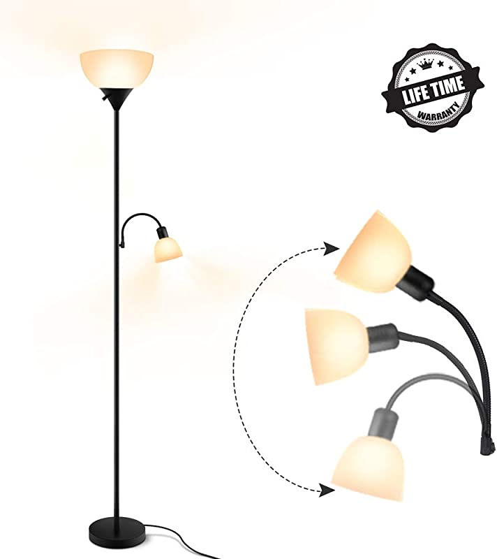 Floor Lamp Modern Standing Lamp 9W 4W Energy Saving LED Bulbs With Adjustable Reading Light 3000K Warm White Torchiere LED Floor Lamps For Living Room Bedroom Office Working Reading