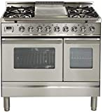 Ilve UPDW90FDMPILP UPDW90FDMPI 36 Pro Series Freestanding Dual Fuel Liquid Propane Range with 4 Sealed Burners Double Oven Griddle Rotisserie and Warming Drawer in Stainless Steel