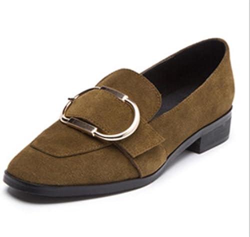 Boucle en métal à ressort épais avec des femmes chaussures simples chaussures chaussures femmes tête carrée , army vert , US6   EU36   UK4   CN36