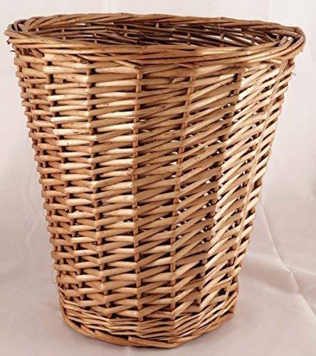Brown Wicker Willow Basket BIN Storage Waste Paper Rubbish BIN Bedroom Office by JVL by Unknown