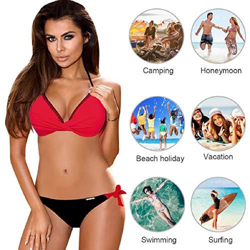 UMIPUBO Conjuntos de Bikinis para Mujer Bikini de triángulo de Dos Piezas Tallas Grandes Multicolor Fruncido Cuello Halter Sin Tirantes Push Up Trajes de baño Acolchados Adecuado para Viajes de Playa