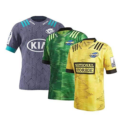 JUNBABY 2020 Hurricanes Rugby Trikot, Hurricane Rugby T-Shirt, Herren Fußballtrikots-Yellow-M