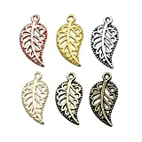 iloveDIYbeads 210pcs Craft Supplies Mixed Small Hollow Filigree Leaf Charms Pendants for Crafting, Jewelry Findings Making Accessory for DIY Necklace Bracelet (M192)