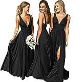 Bridesmaid Dresses V-Neck Long Split Backless Aline Formal Evening Gown for Women Black