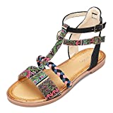 gracosy Flat Sandals for Women, Summer Sandals Gladiator Dress Sandals Ankle Slippers Woven Straps Flip Flop Thong Bohemia Beach Shoes Black-Pink 11 M US