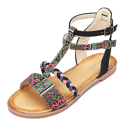 gracosy Flat Sandals for Women, Summer Sandals Gladiator Dress Sandals Ankle Slippers Woven Straps Flip Flop Thong Bohemia Beach Shoesg Black-Pink 8 M US