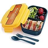SYOSIN Bento Box, Lunchbox Kinder, Auslaufsichere Brotzeitbox mit 3 Fächern und Besteck, Vesperdose Geeignet für Mikrowellen und Spülmaschinen, Schule Arbeit Picknick Reisen
