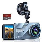 """Dashcam Delantera y Trasera, Dashcam Car Camera 1080P FHD 4""""Pantalla IPS con Tarjeta SD de 32GB, Gran Angular 170 °, Sensor G, Grabación en Bucle"""