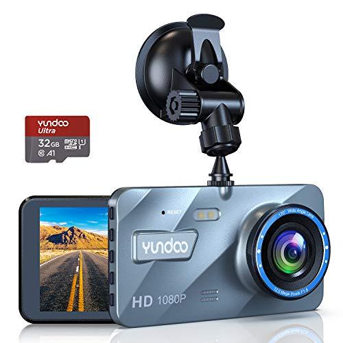 Dashcam Delantera y Trasera, Dashcam Car Camera 1080P FHD 4'Pantalla IPS con Tarjeta SD de 32GB, Gran Angular 170 °, Sensor G, Grabación en Bucle