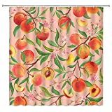 Xnichohe Frucht-pfirsichfarbener Duschvorhang mit Wasserfarben-Gemälde, süßes Pfirsichblüten-Design, wird die Wahl der Haken, Badezimmer-Dekoration, pfirsichfarben