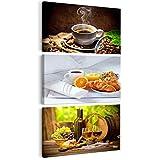 decomonkey Bilder Küche Kaffee 30x60 cm 3 Teilig