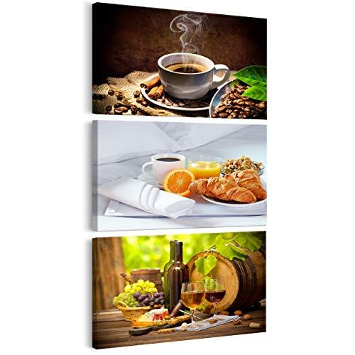 decomonkey Bilder Küche Kaffee 30x60 cm 3 Teilig Leinwandbilder Bild auf Leinwand Vlies Wandbild Kunstdruck Wanddeko Wand Wohnzimmer Wanddekoration Deko Coffee Wein