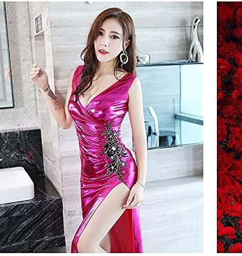 MENG Mujer Sexy Vestido Sexy Bolso Delgado Cadera Dividida Falda de Cuero Vestido de Lujo Adultos Vestido de Baja Corte de Polo Club de Le,Rose Rouge,Xl