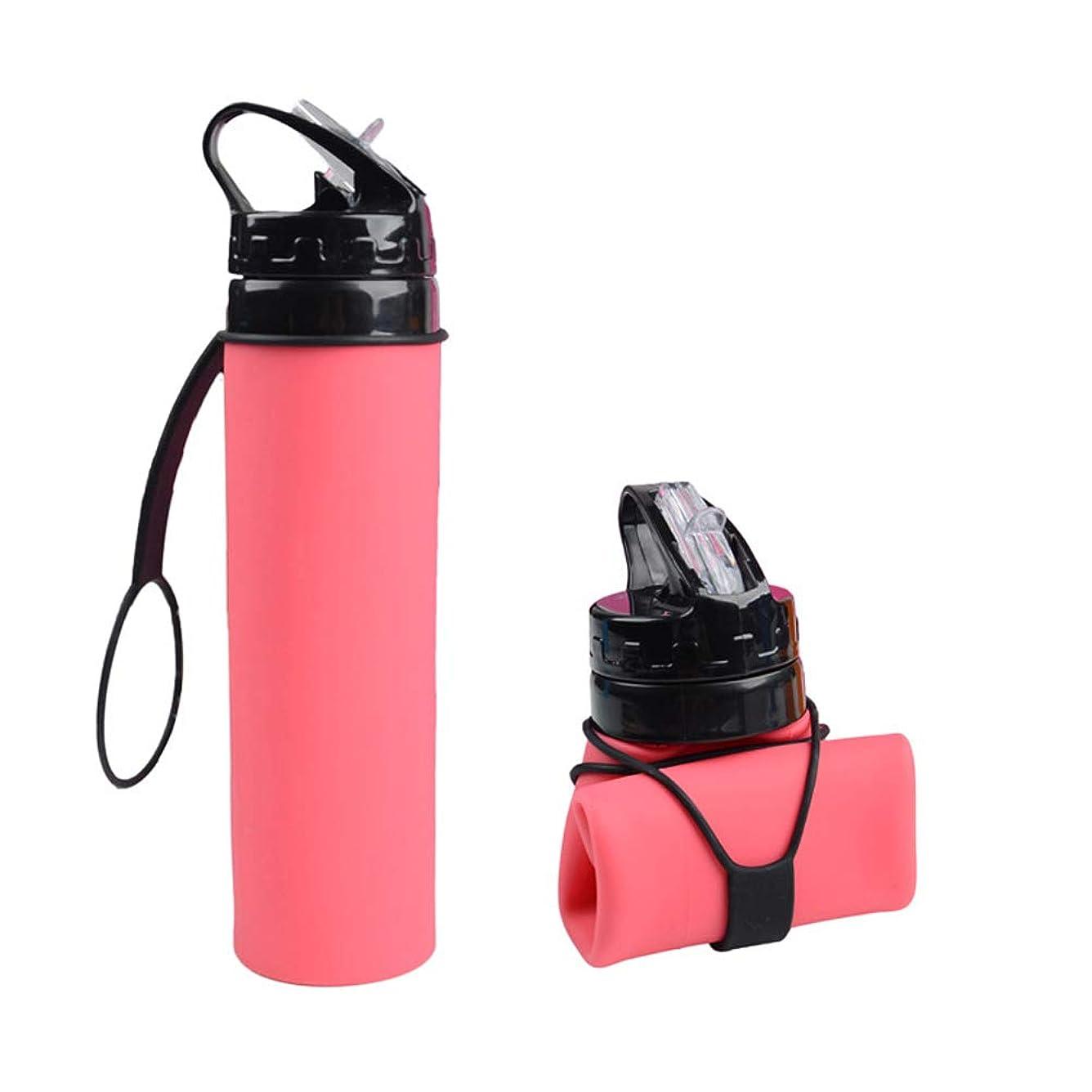 専門知識量収入カップ 600ミリリットル折りたたみ水ボトル食品グレードシリコーンウォーターボトル、ロールアップカップセット屋外用、ハイキング、旅行、BPAフリーキープドリンクホット&コールド真空断熱ウォーターボトルステンレススチールマグ (色 : ピンク)