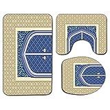 Alfombra de baño antideslizante de 3 piezas Juego de tapa de asiento de inodoro Estera de baño antideslizante marroquí suave Puerta medieval con arquitectura otomana Influencias persas Diseño de cultu