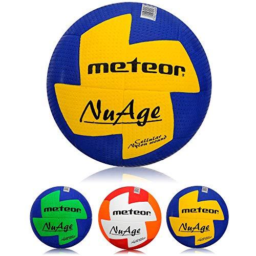 meteor® Nuage Handball Kinder Jugend Damen ideal auf die Kinderhände abgestimmt idealer Handbälle für Ausbildung weicher handballen mit griffiger Oberfläche (Kinder #0 (47-49 cm), Blau/Gelb)