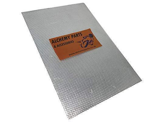 Alchemy Parts Hitzeschutz Blatt 100cm x 33cm - Selbstklebend Auspuff & Motor Aluminium - Reflektierend - Ideal für Motorrad Verkleidung und Auto